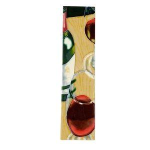 Decorative vertical wine tile bottle two glasses